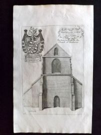 Dugdale & King 1718 Antique Print. West Prospect of the Church of Sherburne
